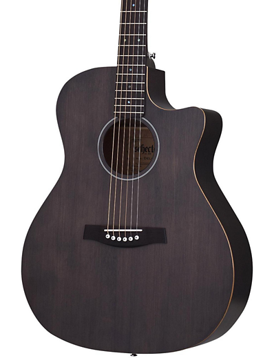schecter deluxe acoustic guitar satin see thru black kenny 39 s music shoppe. Black Bedroom Furniture Sets. Home Design Ideas